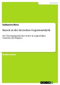 Cover Barock in der deutschen Gegenwartslyrik