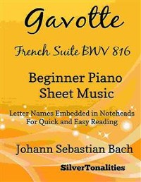 Cover Gavotte French Suite BWV 816 Beginner Piano Sheet Music