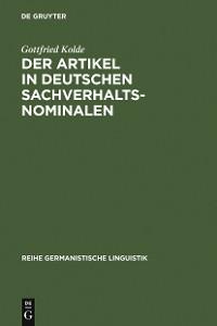 Cover Der Artikel in deutschen Sachverhaltsnominalen