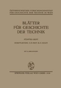 Cover Blatter fur Geschichte der Technik