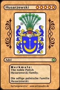 Cover The noble Polish Husarzewski family. Die adlige polnische Familie Husarzewski.