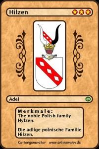Cover The noble Polish family Hylzen. Die adlige polnische Familie Hilzen.