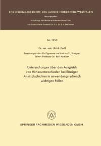 Cover Untersuchungen uber den Ausgleich von Hohenunterschieden bei flussigen Anstrichschichten in anwendungstechnisch wichtigen Fallen