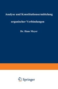 Cover Analyse und Konstitutionsermittelung organischer Verbindungen