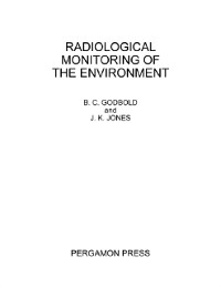Cover Radiological Monitoring of the Environment