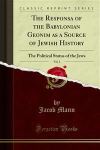 Cover The Responsa of the Babylonian Geonim as a Source of Jewish History