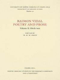 Cover Raimon Vidal, Poetry and Prose