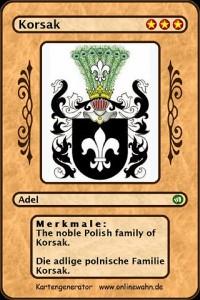 Cover The noble Polish family of Korsak. Die adlige polnische Familie Korsak.