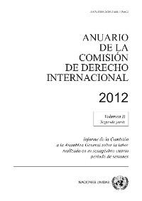 Cover Anuario de la Comisión de Derecho Internacional 2012, Vol.II, Parte 2