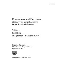 Cover Resolutions and Decisions Adopted by the General Assembly during its Sixty-ninth Session