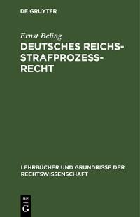 Cover Deutsches Reichsstrafprozeßrecht