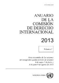 Cover Anuario de la Comisión de Derecho Internacional 2013, Vol. I