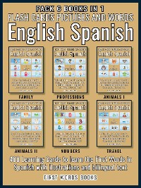 Cover Pack 6 Books in 1 - Flash Cards Pictures and Words English Spanish