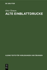 Cover Alte Einblattdrucke