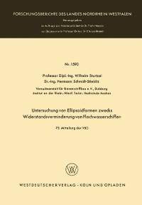Cover Untersuchung von Ellipsoidformen zwecks Widerstandsverminderung von Flachwasserschiffen