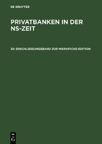 Cover Erschließungsband zur Mikrofiche-Edition