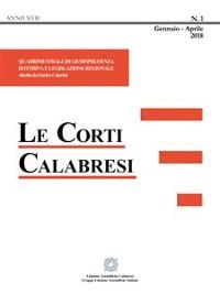 Cover Le Corti Calabresi - Fascicolo 1 - 2018