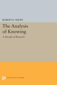 Cover The Analysis of Knowing