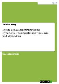 Cover Effekte des Ausdauertrainings bei Hypertonie. Trainingsplanung von Makro- und Mesozyklus