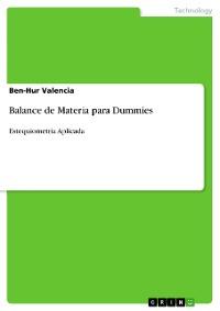 Cover Balance de Materia para Dummies