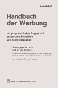 Cover Handbuch der Werbung