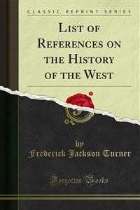 Cover List of References on the History of the West