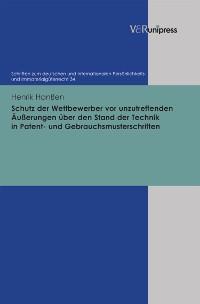 Cover Schutz der Wettbewerber vor unzutreffenden Äußerungen über den Stand der Technik in Patent- und Gebrauchsmusterschriften