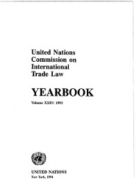 Cover United Nations Commission on International Trade Law (UNCITRAL) Yearbook 1993