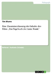 """Cover Eine Zusammenfassung der Inhalte des Films """"Das Tagebuch der Anne Frank"""""""