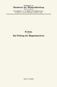 Cover Die Prufung der Magnesiamortel