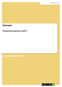 Cover Finanzwissenschaft I