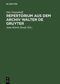 Cover Repertorium aus dem Archiv Walter de Gruyter