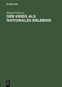 Cover Der Krieg als nationales Erlebnis