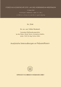 Cover Analytische Untersuchungen an Polyamidfasern