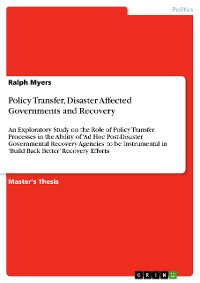 Cover Policy Transfer, Disaster Affected Governments and Recovery