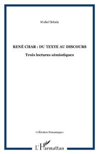 Cover Rene Char : du texte au discours