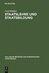Cover Staatslehre und Staatsbildung