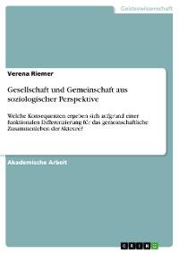 Cover Gesellschaft und Gemeinschaft aus soziologischer Perspektive
