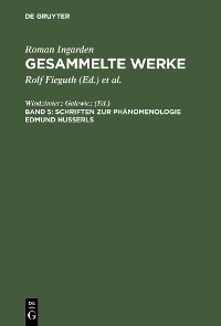 Cover Schriften zur Phänomenologie Edmund Husserls