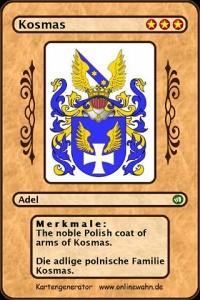 Cover The noble Polish coat of arms of Kosmas. Die adlige polnische Familie Kosmas.