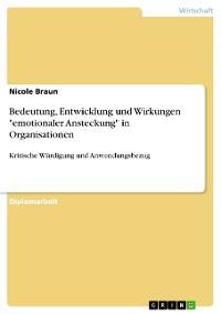 """Cover Bedeutung, Entwicklung und Wirkungen """"emotionaler Ansteckung"""" in Organisationen"""
