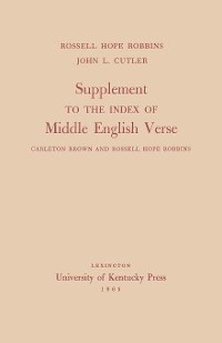 Cover Supplement to the Index of Middle English Verse