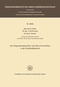 Cover Der Magnetbandspeicher und seine Anwendung in der Schallmetechnik
