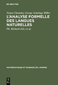 Cover L'analyse formelle des langues naturelles