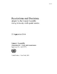 Cover Resolutions and Decisions Adopted by the General Assembly During its Twenty-Ninth Special Session