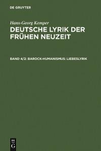 Cover Barock-Humanismus: Liebeslyrik