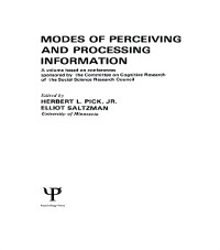 Cover Modes of Perceiving and Processing Information