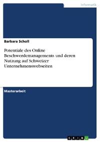 Cover Potentiale des Online Beschwerdemanagements und deren Nutzung auf Schweizer Unternehmenswebseiten