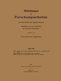 Cover Mitteilungen uber Forschungsarbeiten aus dem Gebiete des Ingenieurwesens