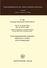 Cover Krummungseigenschaften spharischer Bahnkurven im Hinblick auf ihre Anwendungen